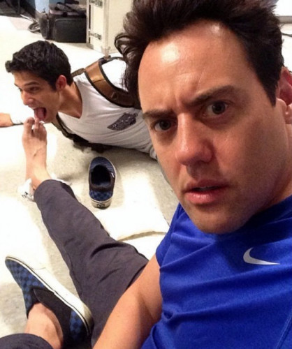 Tyler Posey licking costar Orny Adams' Feet