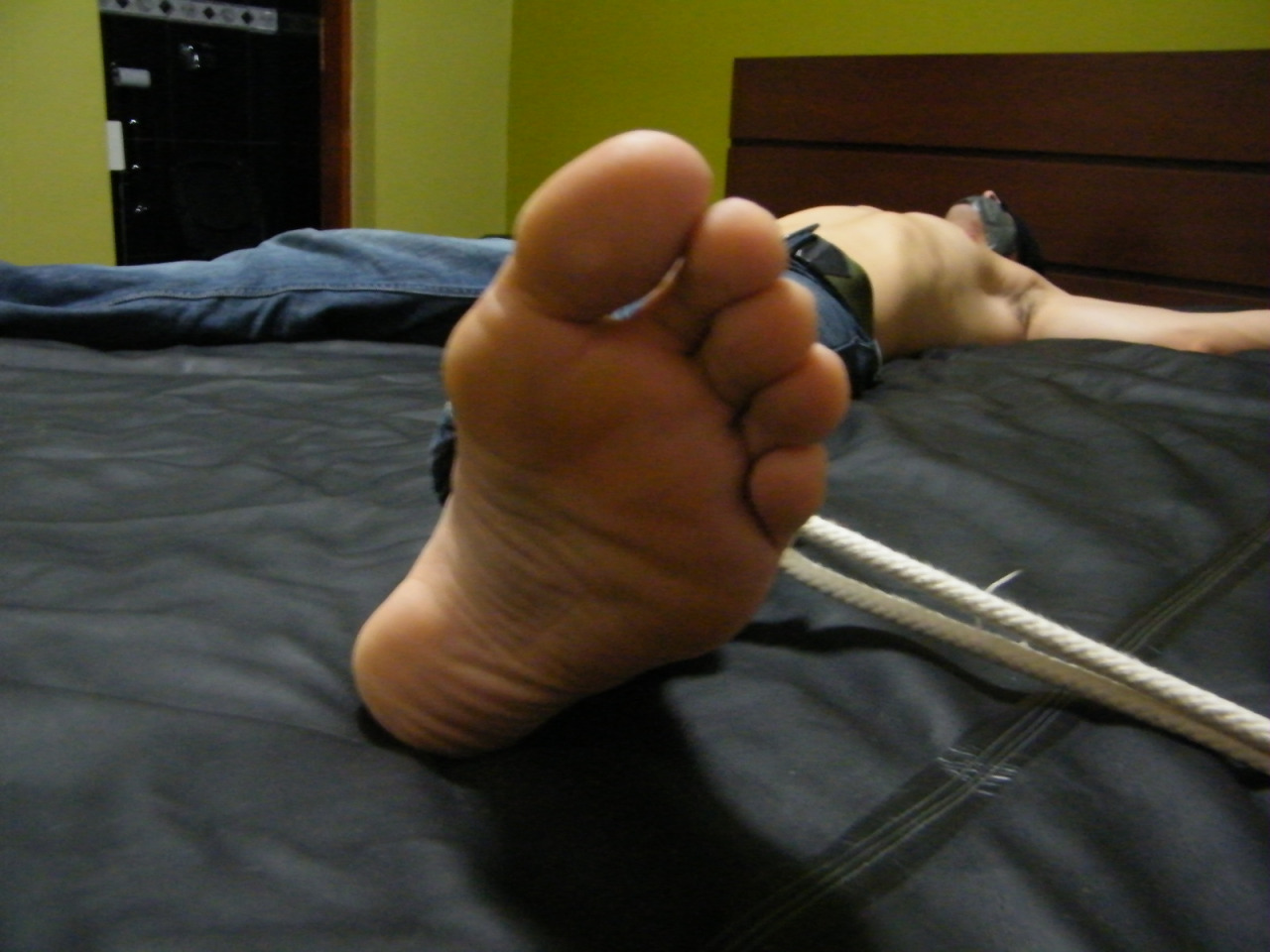 Spread out and barefoot